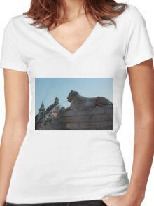 Rome's Fabulous Fountains - Piazza del Popolo Lion Women's Fitted V-Neck T-Shirt