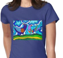 Retro Birds Womens Fitted T-Shirt