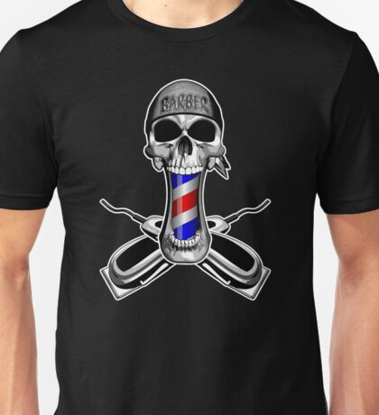 Barber Skull and Clippers Unisex T-Shirt