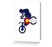 Colorado flag motocross dirt bike rider Greeting Card