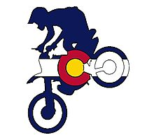 Colorado flag motocross dirt bike rider Photographic Print