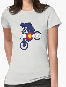 Colorado flag motocross dirt bike rider Womens Fitted T-Shirt