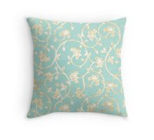 Exotic golden Baroque damask pattern, robin's egg blue Throw Pillow
