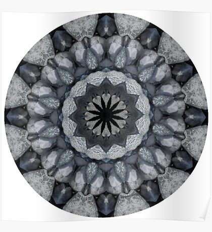Sterling Silver, black and blue kaleidoscope pendants Poster