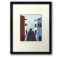 Colorful Seaside Village Framed Print