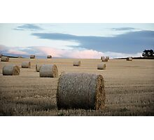 Big Round Bales in a Stubble Field Photographic Print