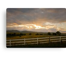 Country White Fence Sunset Canvas Print