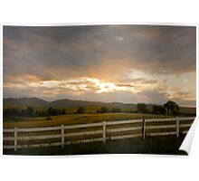 Country White Fence Sunset Poster