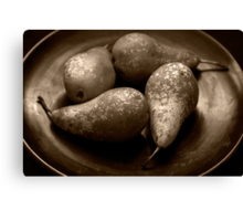 pears in a lacquered bowl Canvas Print