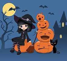 Halloween Witch, Black Cat, and Pumpkins by chibibikun