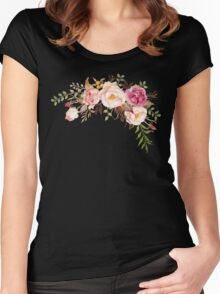 Romantic Watercolor Flower Bouquet Women's Fitted Scoop T-Shirt