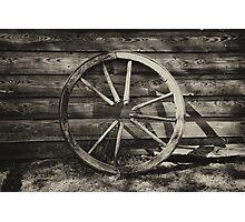 Old broken wagon wheel  Photographic Print