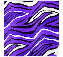 Animal Print Purple Blue and White Pattern Poster
