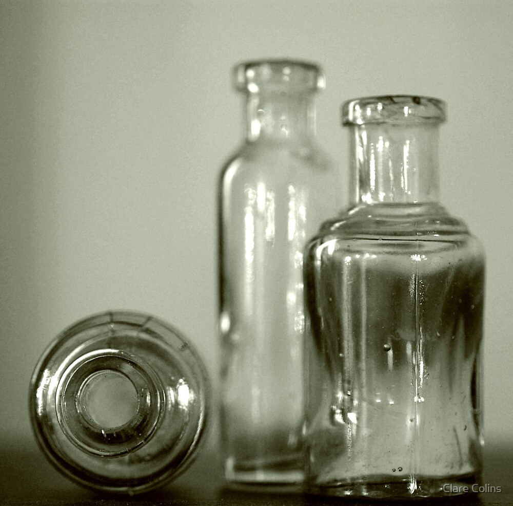 three glass bottles by Clare Colins