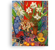 Lilies, Heliconias & Tropical Fruit Canvas Print