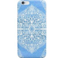 White Gouache Doodle on Pearly Blue Paint iPhone Case/Skin