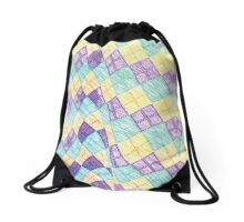 Colored Chessboard Drawstring Bag