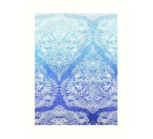 Out of the Blue - White Lace Doodle in Ombre Aqua and Cobalt Art Print