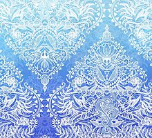 Out of the Blue - White Lace Doodle in Ombre Aqua and Cobalt by micklyn