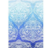 Out of the Blue - White Lace Doodle in Ombre Aqua and Cobalt Photographic Print