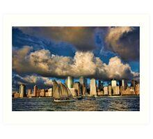 Low Clouds Over Lower Manhattan Art Print