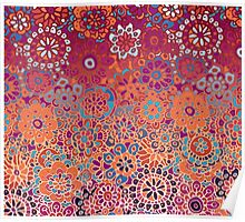 Psychedelic Ombre Flower Doodle Poster
