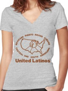 United Latinos Women's Fitted V-Neck T-Shirt