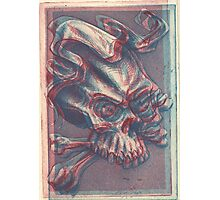 Skull with ribbon  Photographic Print