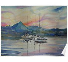 Sunset Noosa River Poster