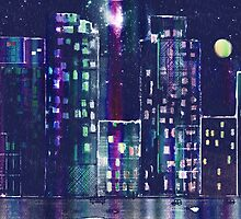 Rainy Night In The City by arline wagner