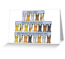 Cats celebrating birthdays on November 28th Greeting Card