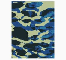 Abstract Army Pattern in Black Blue Baby Tee