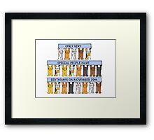 Cats celebrating birthdays on November 29th Framed Print