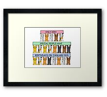Cats celebrating birthdays on January 16th. Framed Print