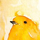 Yellow bird Watercolor Painting by mariakitano