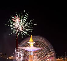 Fireworks and ferris wheel by Margaret Whyte