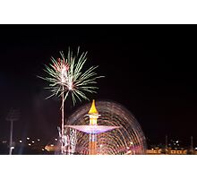 Fireworks and ferris wheel Photographic Print