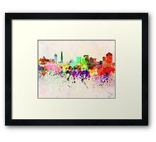 Genoa skyline in watercolor background Framed Print