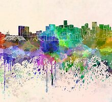 Denver skyline in watercolor background by paulrommer