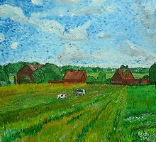 Landscape with Cottages and Cows by Peter Pesta