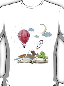 open book with rocket, mountain, moon, boat, air balloon T-Shirt