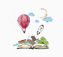 open book with rocket, mountain, moon, boat, air balloon Unisex T-Shirt