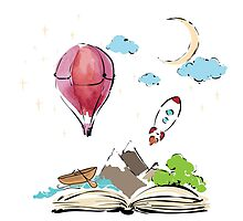 open book with rocket, mountain, moon, boat, air balloon by o-ta