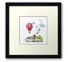 open book with rocket, mountain, moon, boat, air balloon Framed Print