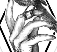 Bird In The Tattooed Hand (Black) Sticker