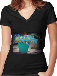 Flower Bucket Women's Fitted V-Neck T-Shirt