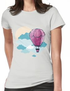 Hot Air Balloon and Clouds Womens Fitted T-Shirt