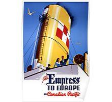 Empress to Europe Vintage Travel Poster Restored Poster