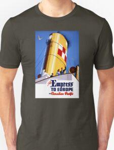 Empress to Europe Vintage Travel Poster Restored Unisex T-Shirt
