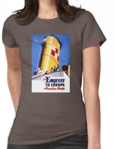 Empress to Europe Vintage Travel Poster Restored Womens Fitted T-Shirt